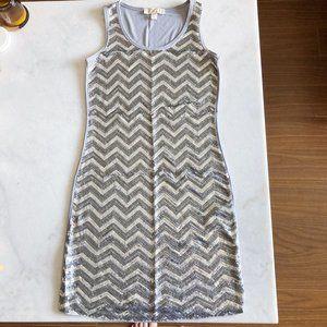 Michael Kors sleeveless silver grey sequin dress